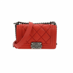 Chanel Matelassé Coral/ Red Boy Bag