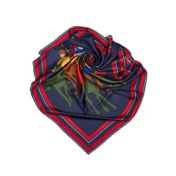 Celine B Celine Blue Navy with Multi Silk Fabric Printed Scarf ITALY