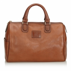 Burberry Leather Boston Bag