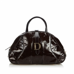 Christian Dior Patent Leather Saddle Dome Handbag