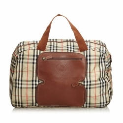 Burberry Plaid Leather Trimmed Duffle Bag
