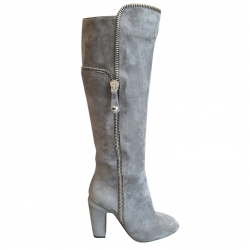 Jean Rodin grey suede boots with side zip Made in Italy