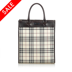 Burberry Plaid Nylon Tote