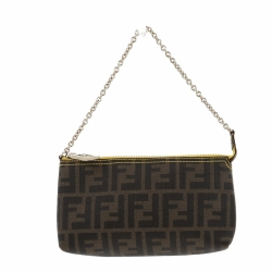 Fendi Zucca clutch with yellow interior