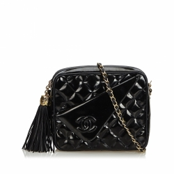 Chanel Patent Leather Quilted Chain Camera Bag
