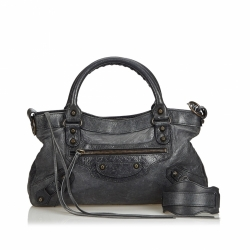 Balenciaga Leather Motocross Classic First Satchel