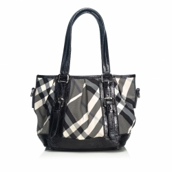 Burberry Beat Check Lowry Canvas Tote Bag