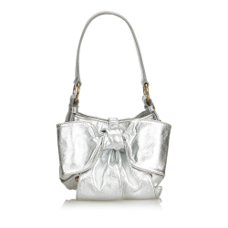 Yves Saint Laurent Metallic Leather Sac Bow Handbag