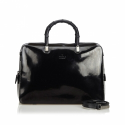 Gucci Bamboo Patent Leather Satchel