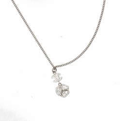 Chanel Necklace with logo and rhinestone charm