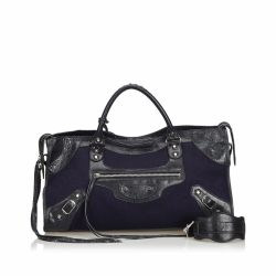 Balenciaga Motocross Suede Giant City Satchel