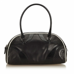 Prada Leather Vitello Drive Perforated Bowling Bag