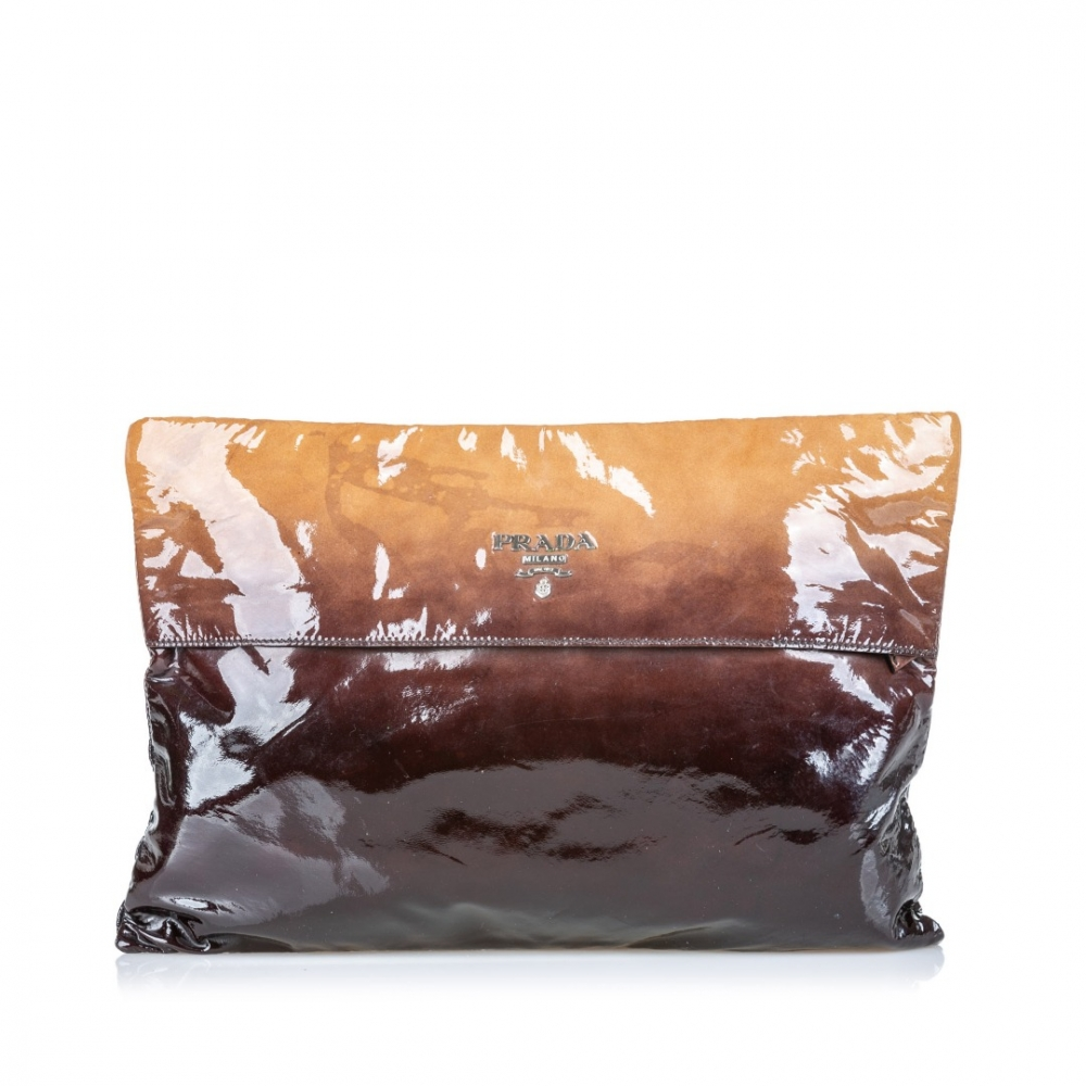 Prada Ombre Patent Leather Clutch Bag