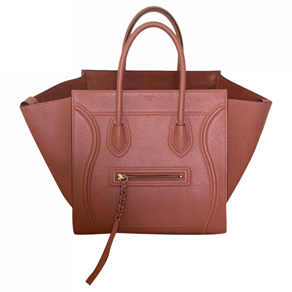 Celine Shiny Grained Calfskin Medium Phantom Luggage Terracotta