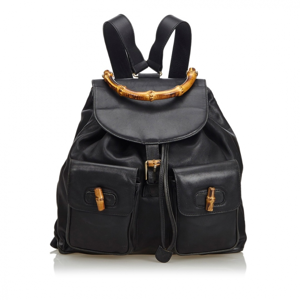 af1bcf62e3f Gucci - Bamboo Leather Drawstring Backpack   MyPrivateDressing. Buy ...
