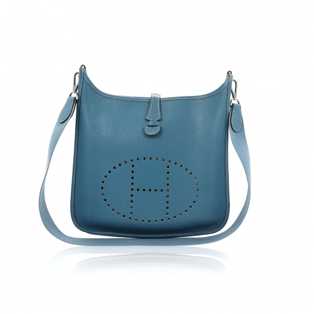 meilleure sélection eb42f 8ab8c Hermès - Bag Hermès Evelyne I Blue Leather Clemence PM : MyPrivateDressing.  Buy and sell vintage and second hand designer fashion and watches. Free ...