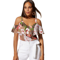 New York & Company 'Floral Ruffled Cold Shoulder' Bluse für Damen