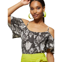 New York & Company 'Snake Print Cold Shoulder' Top für Damen