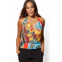 New York & Company 'Mixed Print Wrap Halter' Top für Damen