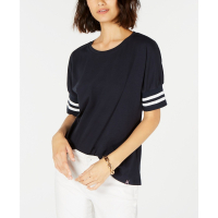 Tommy Hilfiger Top 'Striped-Cuff Crewneck' pour Femmes