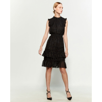 Avec les filles Women's 'Metallic Dot Ruffle Trim' Dress