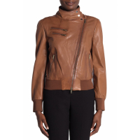 DKNY Women's 'Solid Zip Front Leather Moto' Jacket