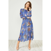 Urban Touch Women's 'Floral Print Long Sleeve Midi' Dress