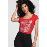 G by Guess 'Vella Rhinestone Rose' T-Shirt für Damen