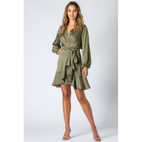 Urban Touch Women's 'Wrap Front Long Sleeve' Dress