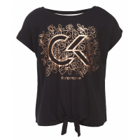 Calvin Klein Big Girl's 'Floral Logo-Print Tie-Front' T-Shirt