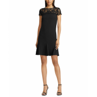 LAUREN Ralph Lauren Women's 'Floral-Lace-Panel Scalloped' Dress