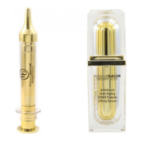 Hollywood Gold 24k Lifting du visage, Sérum anti-âge '60 Seconds Instant (Syringe) & Advanced DMAE Instant Lifting' - 2 Unités