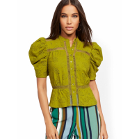 New York & Company Women's 'Chartreuse Eyelet Puffed Sleeve' Shirt