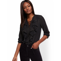 New York & Company Women's 'Ruffled Lace Up' Blouse