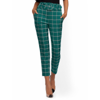 New York & Company Women's 'Belted High Waisted Ankle Plaid' Trousers