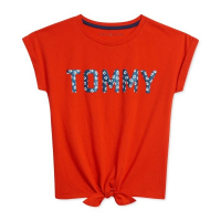 Tommy Hilfiger Big Girl's 'Glitter-Logo Tie-Front' T-Shirt