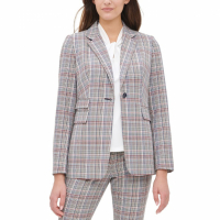 Tommy Hilfiger Women's 'Plaid One-Button Elbow-Patch' Blazer