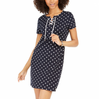 Tommy Hilfiger Women's 'Polka-Dot Lace-Up' T-shirt Dress