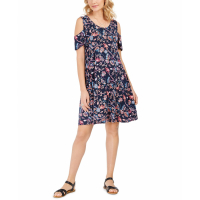 Style & Co Women's 'Printed Cold-Shoulder Swing' Dress