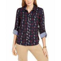 Tommy Hilfiger Women's 'Polka-Heart Roll-Sleeve' Shirt