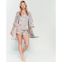 Flora Nikrooz Women's 'Floral' Robe & Shorts - 3 Pieces