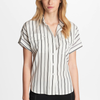 Karl Lagerfeld Women's 'Stripe Camp' Short sleeve shirt