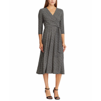 LAUREN Ralph Lauren Women's 'Surplice' 3/4 Long-Sleeved Dress