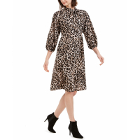 Calvin Klein Women's 'Animal Print Tie Neck' Dress