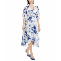 Calvin Klein Women's 'Printed Chiffon Surplice' Dress