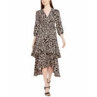 Calvin Klein Women's 'Animal-Print Surplice Tiered' Dress