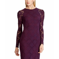 LAUREN Ralph Lauren Women's 'Floral Lace' Long-Sleeved Dress