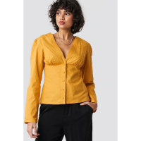 NA-KD Trend Women's 'V-Neck Buttoned Front LS' Blouse