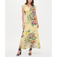 DKNY Women's 'V-Neck Ruffle Cap Sleeve' Maxi Dress