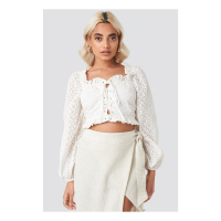 AFJ x NA-KD Women's 'Broderie Anglais' Crop top
